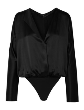 Calder Wrap Effect Silk Charmeuse And Stretch Jersey Thong Bodysuit by Alix