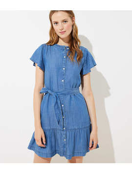 Tall Chambray Tie Waist Flutter Dress by Loft