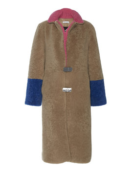 Febbe Colorblock Shearling Coat by Saks Potts