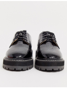 Raid Haley Black Chunky Lace Up Shoes With White Stitching by Raid