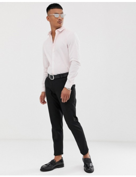 Asos Design Stretch Slim Check Smart Shirt In Pink by Asos Design