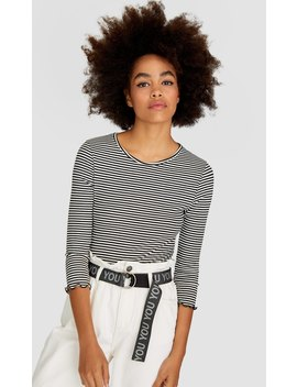 Striped Scalloped Top by Stradivarius