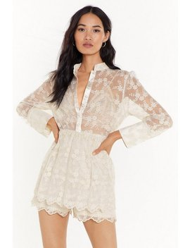 Lace Have It Floral Mesh Romper by Nasty Gal