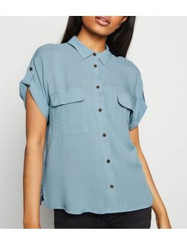 Petite Blue Pocket Front Utility Shirt by New Look