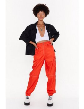 Going Stitch Way Satin Cargo Trousers by Nasty Gal