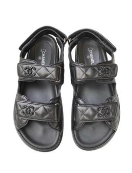 Black Quilted Leather Cc Logo Chain Velcro Sandals Flats by Chanel
