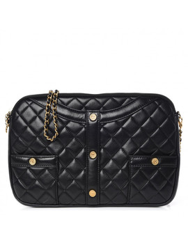 Chanel Calfskin Quilted Small Girl Shoulder Bag Black by Chanel
