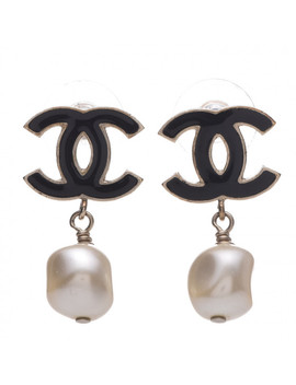 Chanel Pearl Enamel Cc Drop Earrings Gold by Chanel
