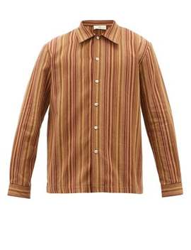 Ripley Jacquard Striped Brushed Cotton Twill Shirt by Séfr