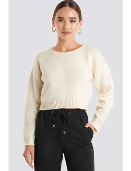 Cropped Round Neck Knitted Sweater Hvid by Na Kd