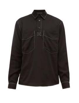 Contrast Stitched Poplin Shirt by Schnayderman's