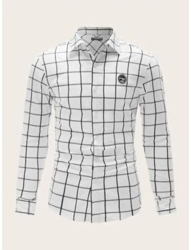 SheinMen Patched Detail Grid Shirt by Shein