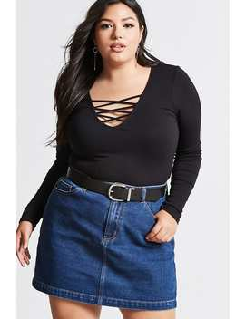 Plus Size Strappy Ribbed Top by Forever 21