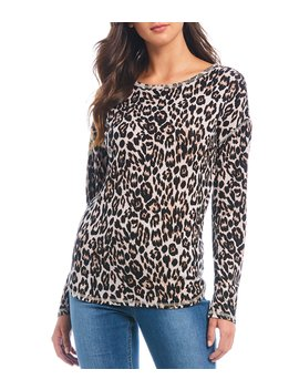 Cheetah Print Long Sleeve Crew Cotton Blend Tee by Westbound