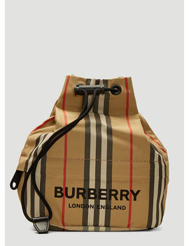 Phoebe Heritage Stripe Drawstring Clutch Bag In Beige by Burberry