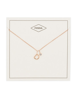 Letter D Rose Gold Tone Stainless Steel Necklace by Fossil