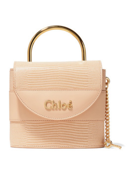 Aby Lock Lizard Effect And Smooth Leather Tote by Chloé