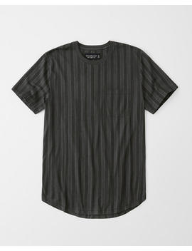 Curved Hem Striped Pocket Tee by Abercrombie & Fitch