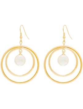 Double Hoop/Pearl Drop Earring by Gregory Ladner