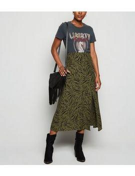 Khaki Tiger Print Side Split Midi Skirt by New Look