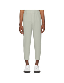 Grey Tailored Cropped Trousers by Homme PlissÉ Issey Miyake