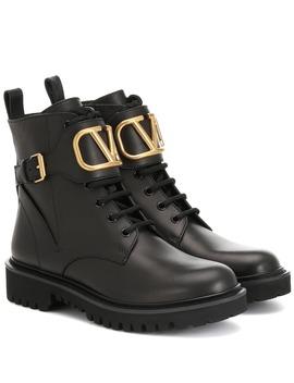 Valentino Garavani Ankle Boots Vlogo Aus Leder by Valentino Garavani