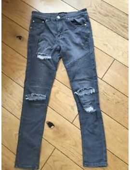 Mens / Boys Boohoo Man Grey Ripped Biker Style Skinny Jeans Size 30 R by Ebay Seller