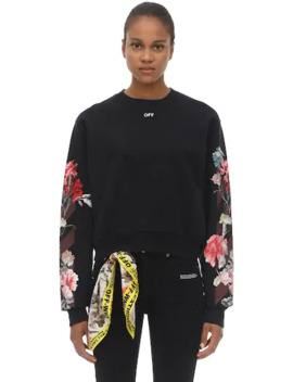Floral Print Cotton Sweatshirt by Off White