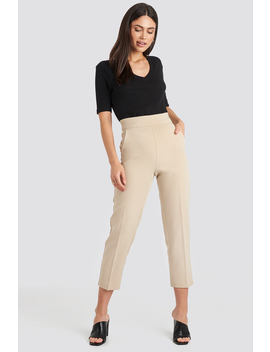 High Waist Cropped Suit Pants Beige by Nakdclassic
