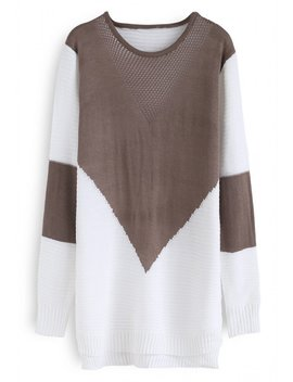 Color Blocking Longline Sweater In Tan by Chicwish