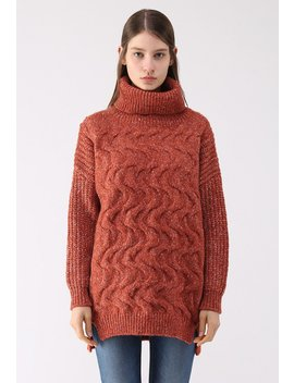 Ripple Cowl Neck Longline Knit Sweater In Orange by Chicwish