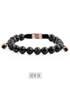 Black Stone Bead Bracelet by Rose Gold & Black