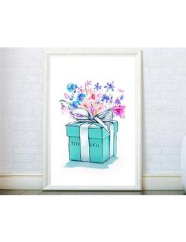 Fashion Poster Inspired By Tiffany Teal Box White Bow Watercolor Art Box Jewellery Illustration Fashion Wall Art Canvas Print Wall Decor. by Etsy