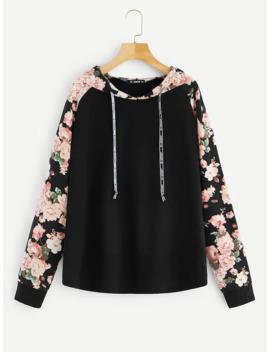 SheinPlus Floral Raglan Sleeve Drawstring Hoodie by Shein