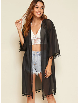 Drop Shoulder Pompom Detail Sheer Kimono by Romwe