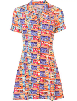 Printed Mini Shirt Dress by Lhd