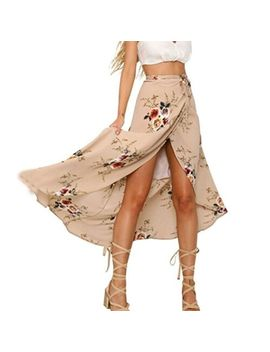 Au Women Girl Boho Floral Print High Waist Summer Beach Wrap Maxi Skirt Cover Up by Unbranded