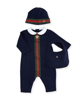 Web Trim Jersey Coverall Gift Set, Size 0 12 Months by Gucci