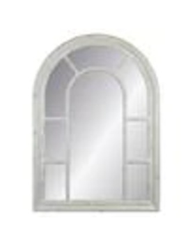 Enchante Allen + Roth 40 In L X 29 In W Arch Distressed White Framed Wall Mirror by Lowe's