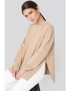 Oversized Side Slit Sweater Beige by Na Kd Trend