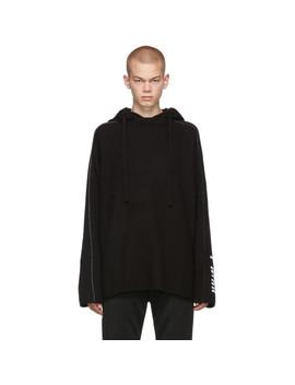 Black Plain Knit Hoodie by Juun.J
