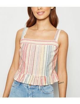 Multicoloured Stripe Linen Blend Peplum Cami by New Look