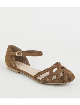 Wide Fit Tan Plait Strappy Caged Sandals by New Look