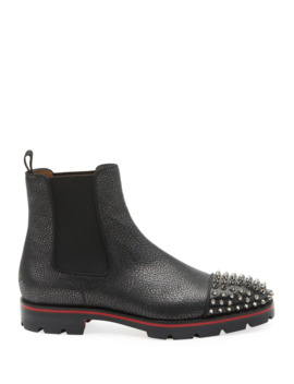 Men's Melon Spikes Pebbled Leather Chelsea Boots by Christian Louboutin