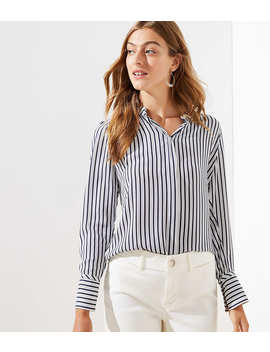 Striped Crossover Back Yoke Utility Blouse by Loft