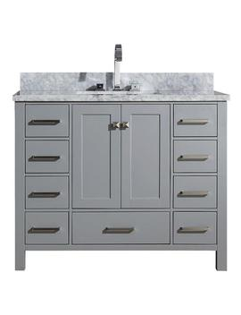 Cambridge 43 In. Bath Vanity In Grey With Marble Vanity Top In Grey With White Basin by Ariel