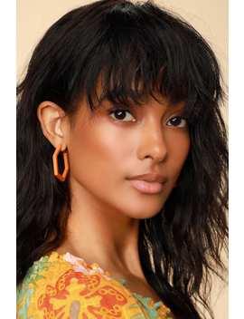 Bea Orange Hexagon Earrings by Lulus