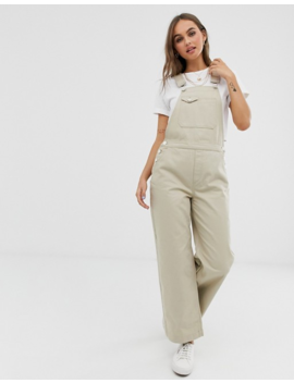 Pieces Wide Leg Denim Dungaree In Beige by Pieces