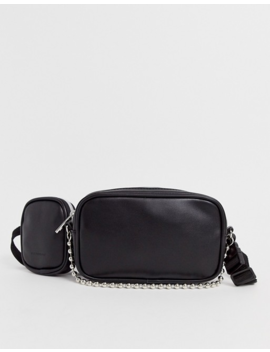 Asos Design Faux Leather Cross Body Bum Bag With Multi Pockets And Chain by Asos Design