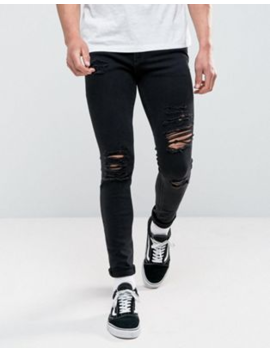 Jack &Amp;Amp; Jones Skinny Fit Ripped Jeans In Black Wash by Jack &Amp; Jones